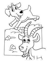 Papiers peints Le vous même cartoon scene with happy goat friends on white background - vector coloring page - illustration for children
