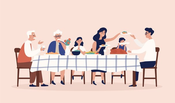 Happy people sitting at table, eating holiday meals, drinking wine and talking to each other. Family Christmas or Thanksgiving dinner or supper. Colorful vector illustration in flat cartoon style.
