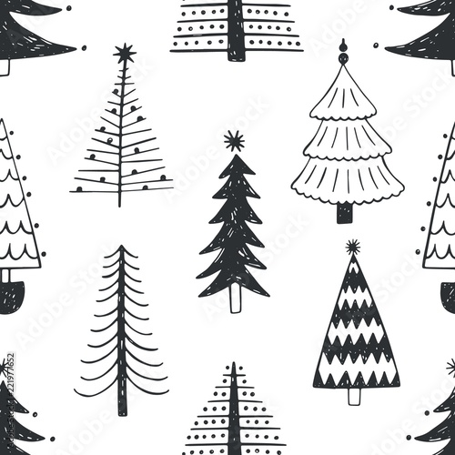 Seamless Pattern With Different Christmas Trees Or Spruces Drawn
