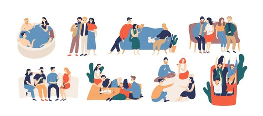 Wall Mural - Collection of friends spending time together. Bundle of young men and women playing game, riding roller coaster, talking, having picnic lunch. Colorful vector illustration in flat cartoon style.