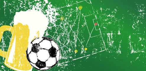 Grungy Soccer and beer illustration, design template, free copy space, vector