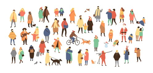 Wall Mural - Crowd of tiny people dressed in winter clothes or outerwear walking and performing outdoor activities. Bustle and scurry on city streets before Christmas or New Year. Flat cartoon vector illustration.