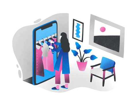 Woman standing in front of giant smartphone and choosing clothes hanging on hanger rail inside it. Concept of online shopping, internet retail, digital store. Colorful isometric vector illustration.
