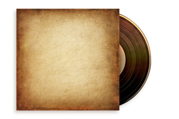 Old grunge vinyl record in a paper case, isolated on white. Path included.