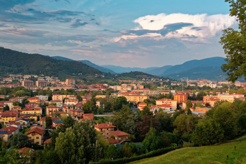 Bergamo, Italy August 18, 2018: Panoramic view from above to the evening city.