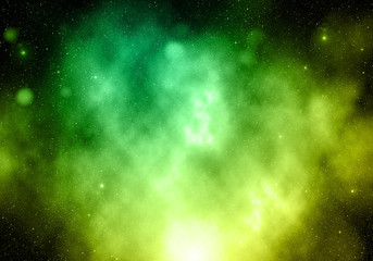 Green and Yellow smoke lights with bokeh elegant show on stage abstract background. Way space galaxy with stars and nebula for background. Dust sparks background.