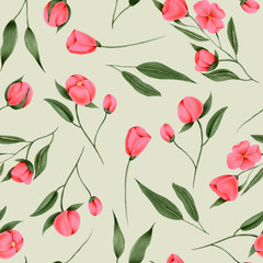 Seamless pattern of hand painted crimson flowers on a grey background