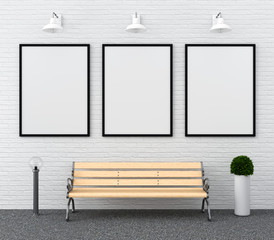 three blank photo frame for mockup on wall and bench, 3D rendering