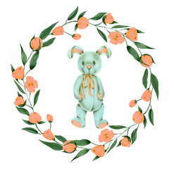 Wreath with hand-painted soft plush toy rabbit and pink flowers on a white background