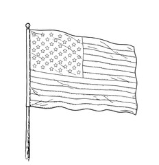 American flag drawing - vintage like illustration of flag of USA. Monochromatic contour on white background.