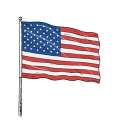 American flag drawing - vintage like colour illustration of flag of USA. Banner on white background.