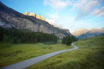 Morning in the mountain valley nearby resort of Kandersteg, Switzerland