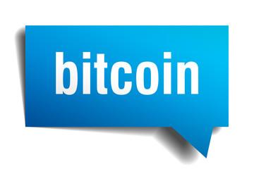 bitcoin blue 3d speech bubble