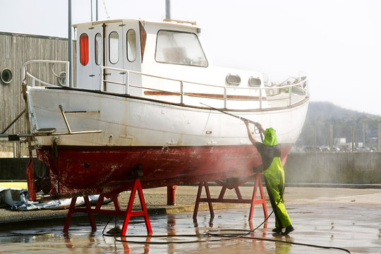 yacht boat  in shipyard  for repair and maintenance in marina port