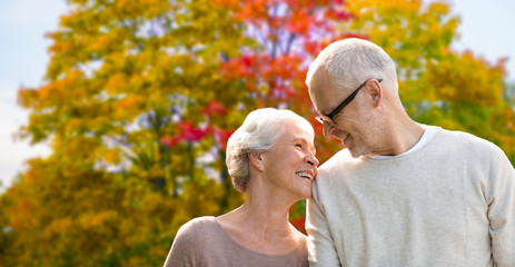 old age, love and people concept - senior couple over autumn park background