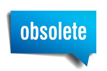 obsolete blue 3d speech bubble