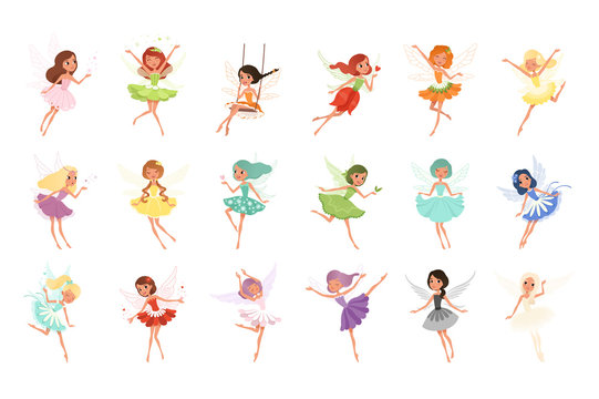 Colorful set of fairies in flying action. Little creatures with colorful hair and wings. Mythical fairy tale characters in cute dresses. Flat vector design