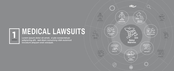 Medical Lawsuits w Pharmaceutical, negligence, and medical malpractice icon set