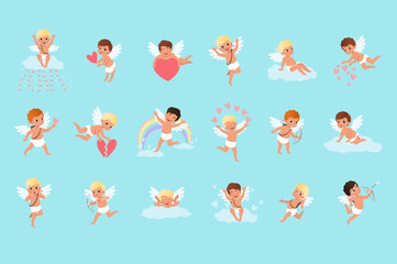 Set of cute cupid boys in different actions. Flying, sitting on clouds, spreading love. Mythical archers. Angels of love with little white wings. Flat vector design