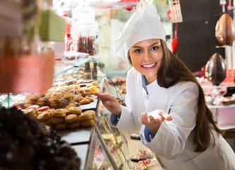 shopgirl posing with chocolate