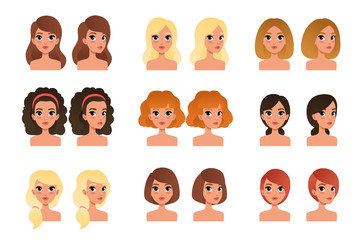Collection of beautiful young girls with different hairstyles and colors shades long, short, medium, curly, blond, red, black, brunette. Flat vector avatars for mobile game