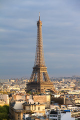 Beautiful skyline view of the Eiffel tower seen from the Arc de Triomphe in Paris, France