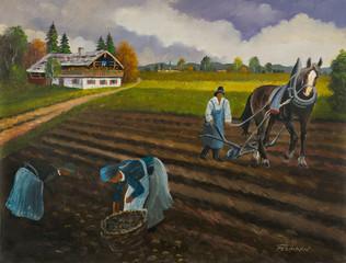 Bauer mit Pferd bei der Arbeit auf einem Feld