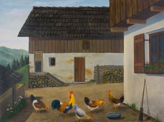 Mehrere Hühner im Garten auf einem Bauernhof