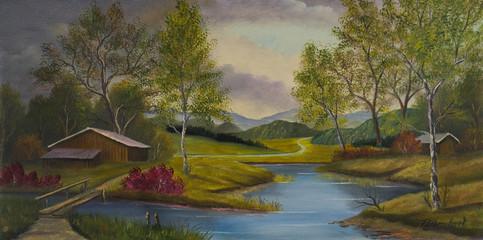 Hügelige Landschaft mit Scheunen und einem Fluß