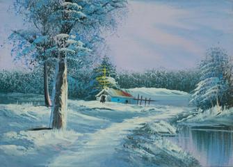 Verschneite Winterlandschaft mit Fluß und Kapelle