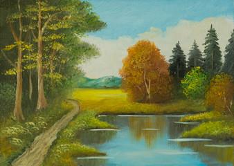 Landschaftsbild mit Bäumen und einem Weg am Fluß