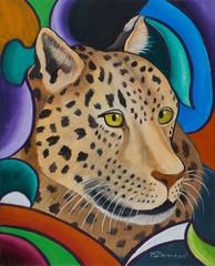 Kopf von einem Leopard vor buntem Hintergrund