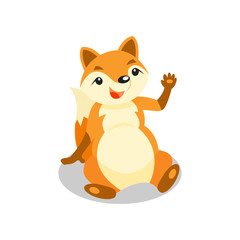 Cute little fox sitting on the floor and waving his paw, funny pup cartoon character vector Illustration on a white background