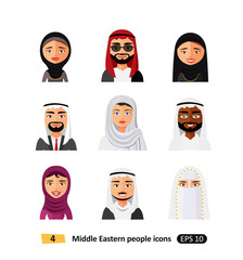 Different middle eastern people avatar set vector flat icons arab users