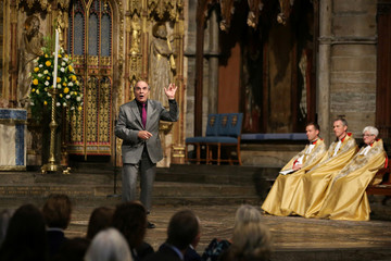 Actor David Suchet recites from Amadeus during a service of thanksgiving for Peter Hall, at Westminster Abbey in central London,