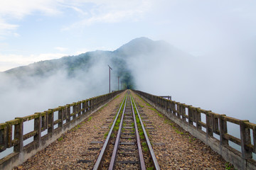 railway in mountains with blue sky and clouds