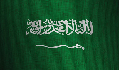 Illustration of a flying flag of Saudi Arabia