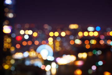 abstract night lighting bokeh of cityscape