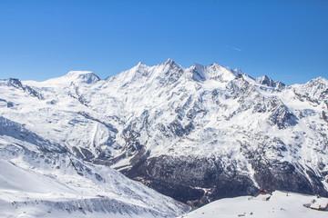 The mountain range in Saas Fee, Switzerland