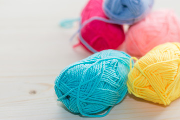 Balls of colored knitting yarn