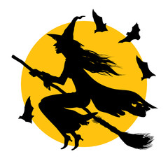 hellovin/In this drawing the witch flying on a broom against the full moon is represented.