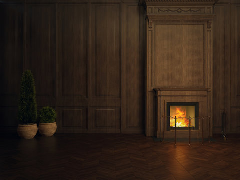fireplace in the room panelled in wood