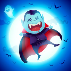Cute Little Dracula Vampire. A kid in Halloween costume jumping in the moonlight.