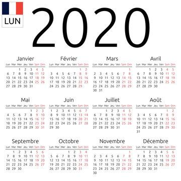 Calendar 2020, French, Monday