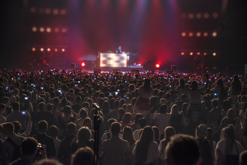 people at the concert with the phones