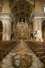 Gesu Nuovo interior church in Naples, Italy
