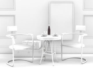 3D illustration of interior design two chairs with table against white wall background