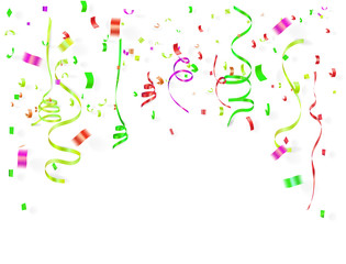 colorful  ribbons and confetti on white