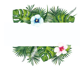 watercolor frame of tropical palm leaves and pink and blue hibiscus flowers