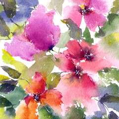 Watercolor colorful florals. Floral background. Floral greeting card. Floral design.
